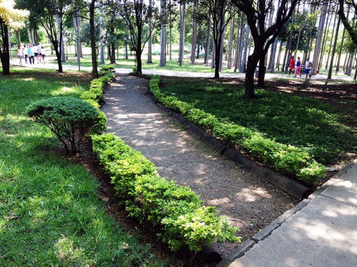 Caminho para a pista de caminhada e cooper no Parque Ecológico de Vila Prudente