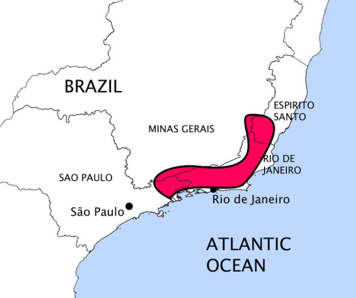 Mapa habitat da flor de maio brasil